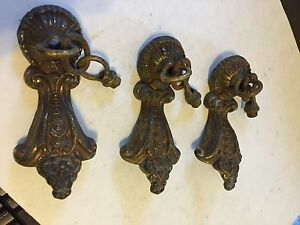 3 MATCHING ANTIQUE CAST BRASS CEILING LIGHT SCONCE PAN FIXTURE ARMS REPAIR PARTS
