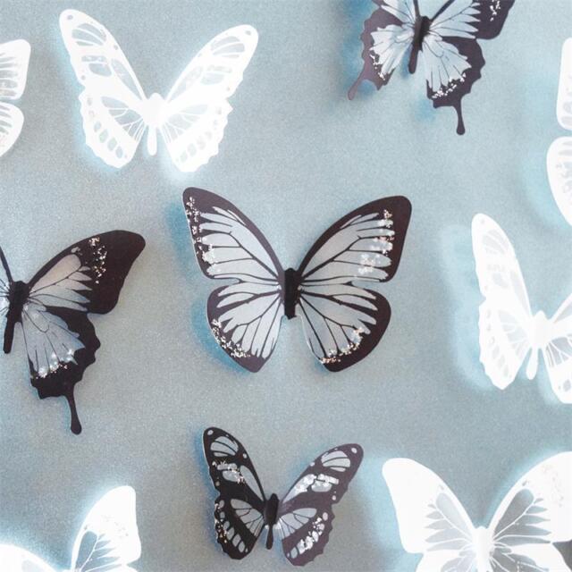 18pcs DIY 3D Butterfly Wall Stickers Art Decal PVC Butterflies Home Decor HP