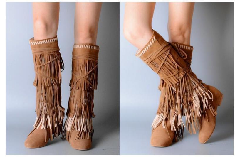 Para mujeres Cuero Nobuck Vaca la rodilla botas altas tacón alto cuña zapatos Borlas Flecos