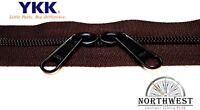 Genuine Ykk Nylon Coil Zipper Tape 5 Brown 1 Yard W/ 2 Black Sliders