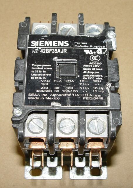 new Siemens Contactor, 42BF35AJR, 30 Amps, 3 pole, 24 volt coil