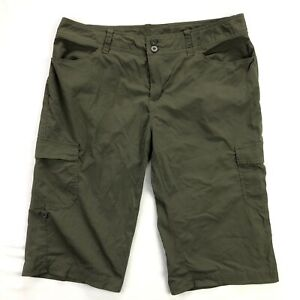 Patagonia Solimar Shorts Womens 10 Olive Green Nylon Stretch Cargo Bermuda