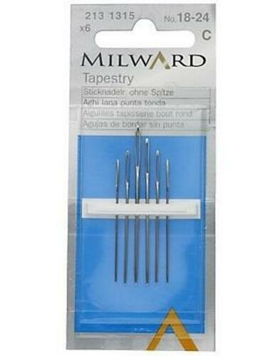 Tapestry Needles No.18-24 QTY 6 Milward Hand Sewing Neeedles