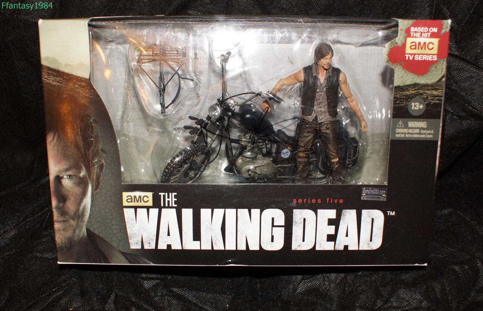 The Walking Dead Daryl with Chopper Bike Figure Signed Norman Reedus NIB COA