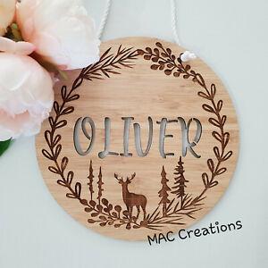 Details about  /Personalised Wooden Door Plaque Baby Deer