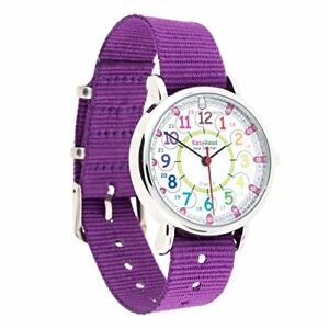 Rainbow Colours 12 & 24 Hour Time Easyread Time Teacher Children's Watch Pur