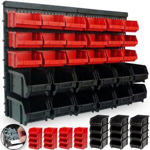 Pannello Da Parete Con 32 Box Portautensili Contenitori Attrezzi Officina Garage