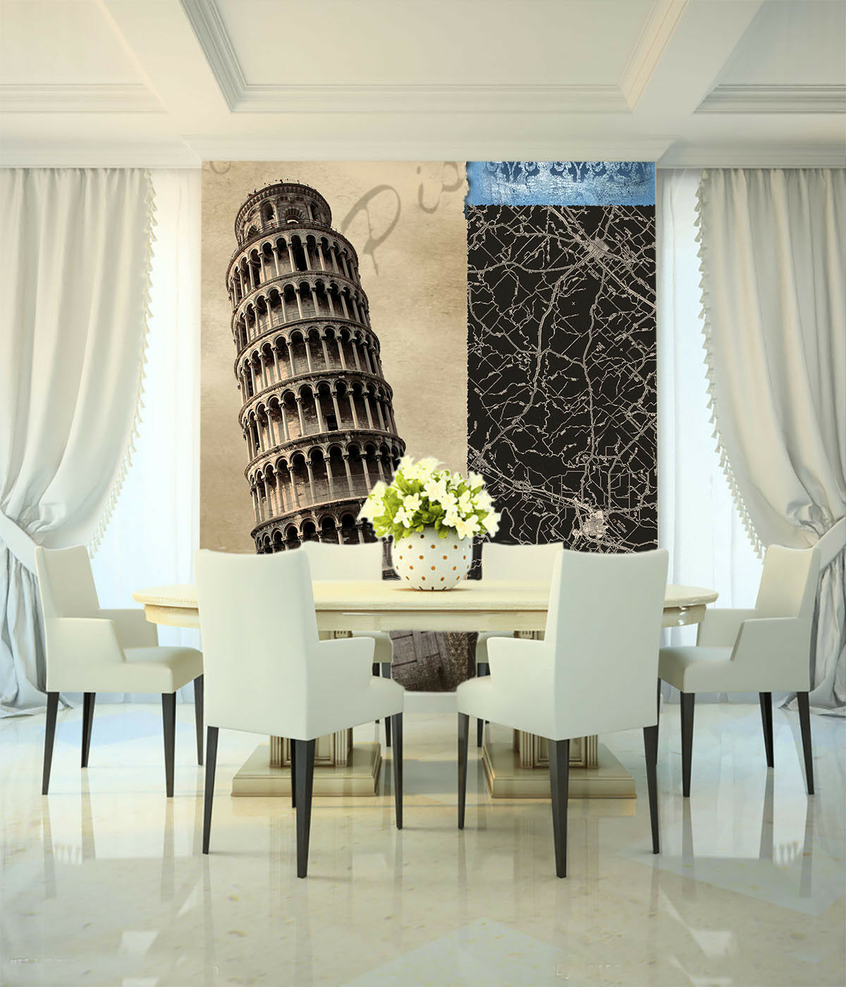Papel Pintado Mural De Vellón Pisa Inclinada Torre 21 Paisaje Fondo De Pansize