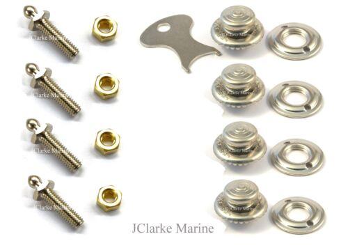 4pc Kit Tenax fastener Button 2BA long nut on classic kit car boat hood cover