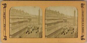 Francia Parigi Rue Da Rivoli c1865 Foto Stereo Diorama Vintage Albumina