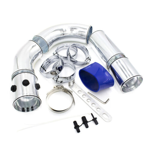 """3/"""" 76mm Air Intake Pipe Aluminium Turbo Direct Cold Air Filter Injection System"""