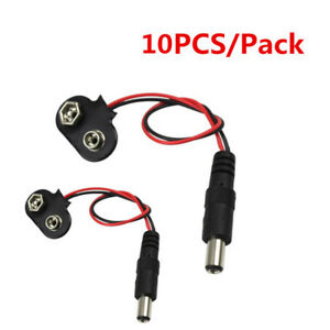 5 x 9v battery connector clips leads 15 CM with Plug Male 5,5 x 2,1 MM