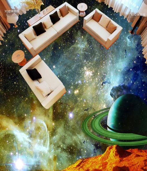 3D Galaxy Planet 0 Floor WallPaper Murals Wall Print Decal 5D AJ WALLPAPER Lemon