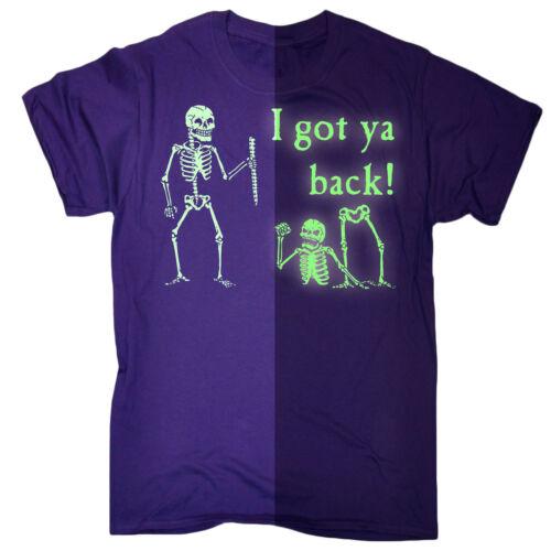 Halloween Da Uomo T Shirts HO YA indietro brillano al buio divertente Costume T-shirt