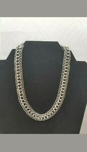 Vintage-Sarah-Coventry-Silver-Tone-Multi-Chain-Links-Choker-Necklace-Linked-8-034