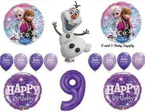 Image Is Loading FROZEN OLAF PURPLE 9th HAPPY BIRTHDAY PARTY BALLOONS