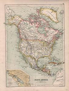 1899 Viktorianisch Landkarte ~Nordamerika~ United States Mexico Kanada Nicaragua
