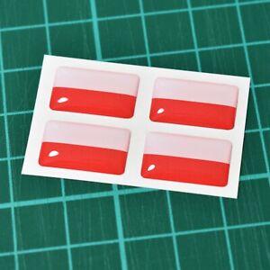 4x-Poland-Polish-Flag-Domed-Stickers-High-Gloss-Raised-Gel-Finish