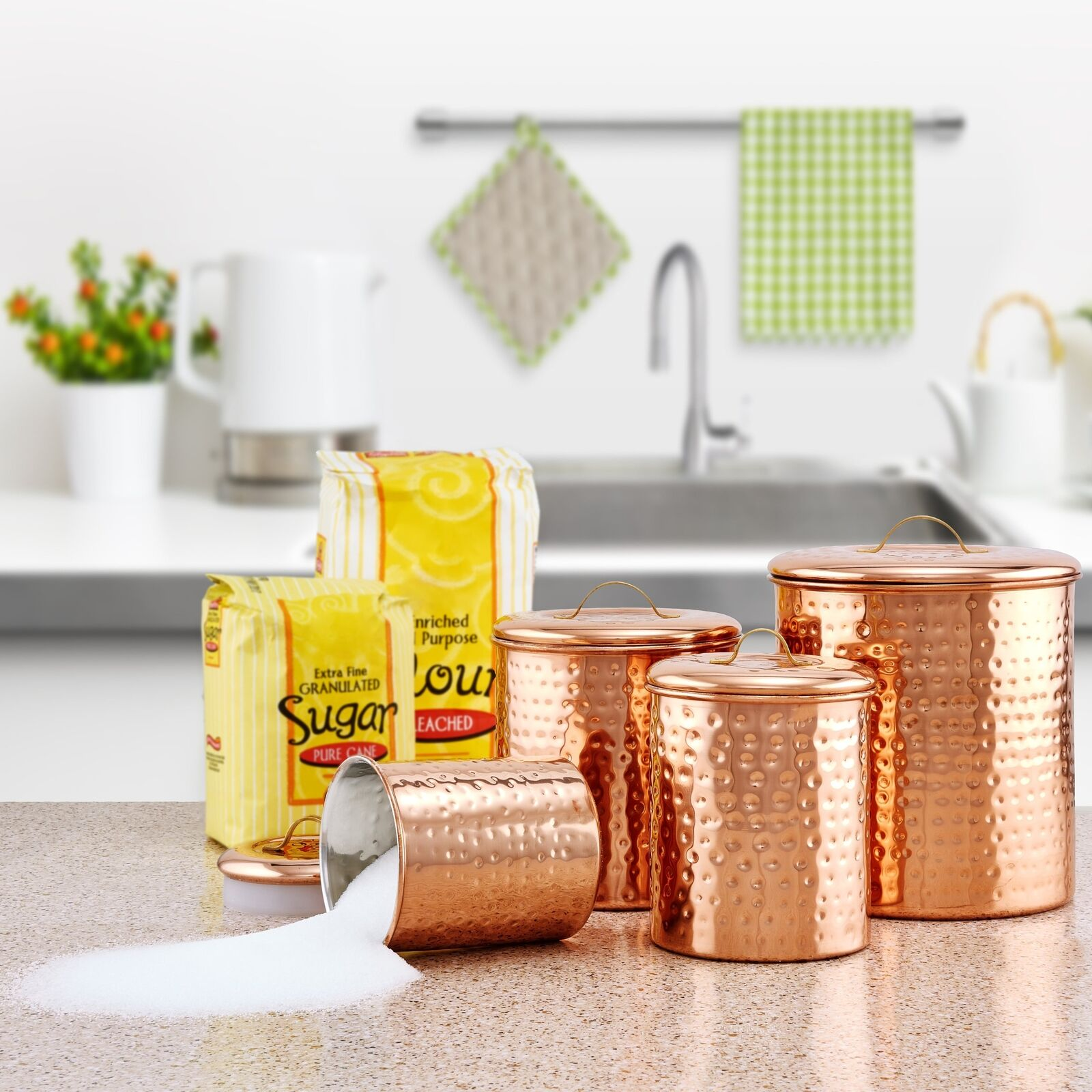 4 PCs Hammerot Copper Canister Canister Canister Set Tea Coffee Sugar Flour Jar Kitchen Storage d56f4f
