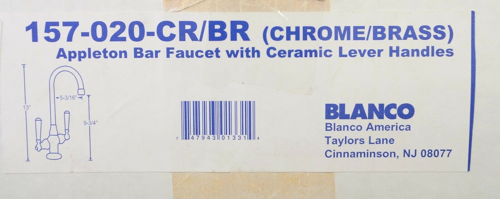 Chrome Brass Bar Faucet Blanco 157-020-CR//BR Appleton 2 Ceramic Handle Classic