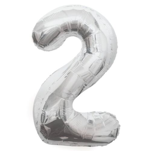 """34/"""" SILVER GIANT NUMERAL FOIL BALLOON HELIUM NUMBER 0 1 2 3 4 5 6 7 8 9 BIRTHDAY"""