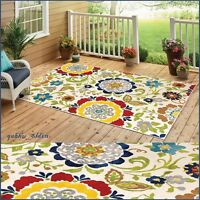 7 X 10 Floral Area Rug Carpet Teal Red Yellow Green Indoor Outdoor Decor