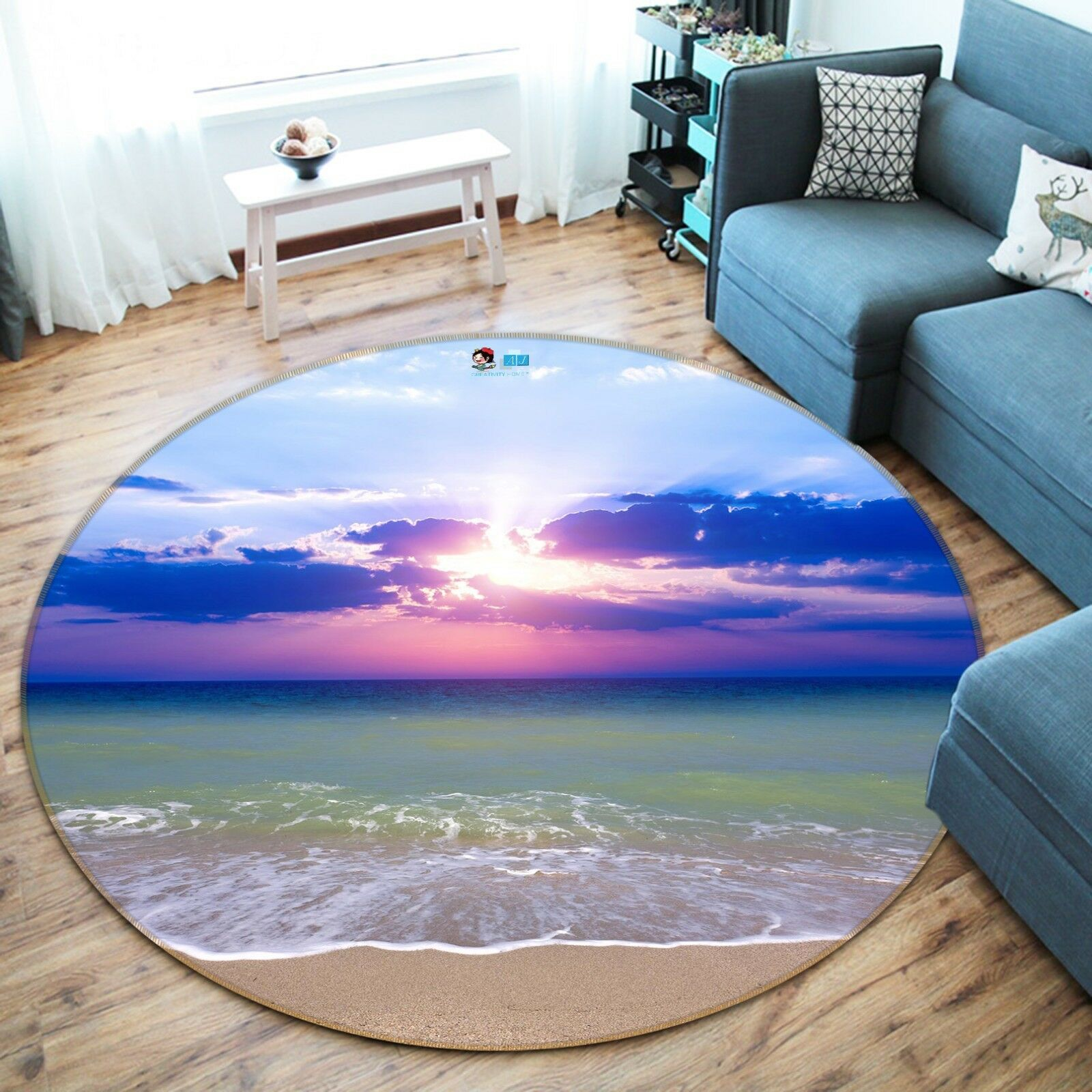3D Sea Sky View View View 4 Non Slip Rug Mat Room Mat Round Elegant Photo Carpet US Summer e43cd7