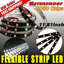 4x 12V 12-LED 30CM White 5050 SMD Waterproof Car Motor Flexible Light Strip Bar