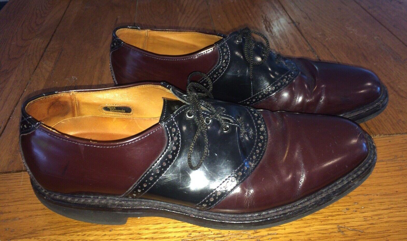 Allen Edmonds Men's 10.5 A  (Narrow) Black & Oxblood Saddle Shoes Shelton X