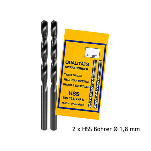 2 x HSS Spiralbohrer Ø 0,3-3,0 mm rechts zylindrisch DIN 338 Wendelnutenbohrer