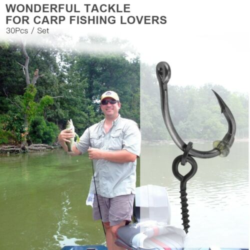 30Pcs//set Carp Fishing Ronnie Rig Hook Bait Stoppers Bait Screws Terminal Tackle