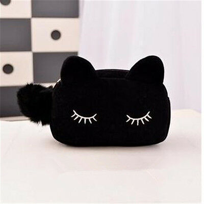 Women Lovely Velvet Cat Design Makeup Cosmetic Bag Ourdoor Casual Handbag