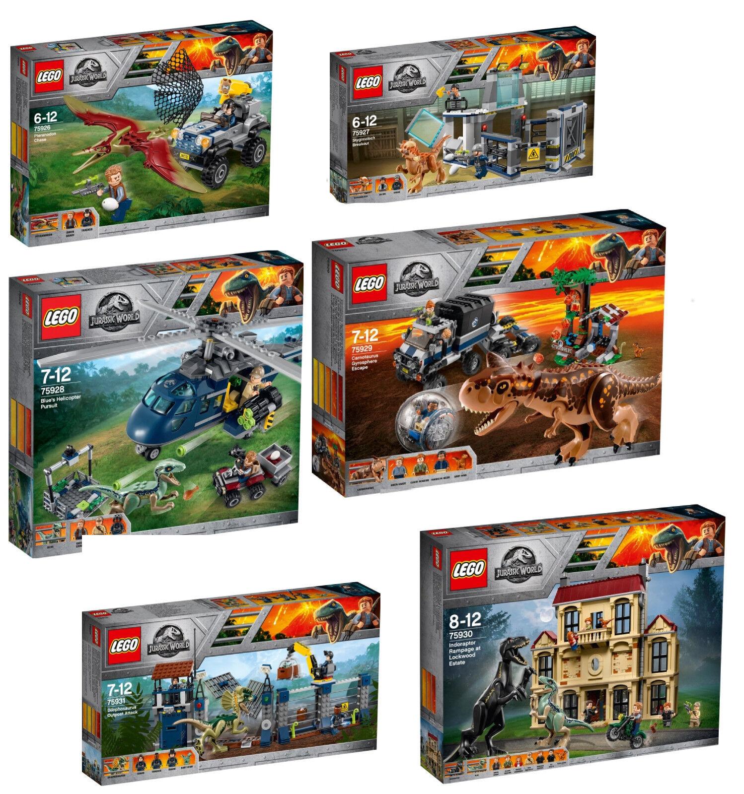 Lego Jurassic World 6er set, 75926 + 75927+ 75928  + 75929 + 75930 + 75931 nouveau  bienvenue à l'ordre