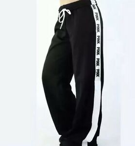 74d993f050d7d Details about Victoria's Secret VS PINK Snap Track Pants Sweatpant Black &  White Small NWT XS