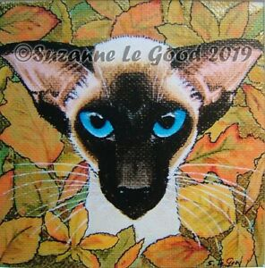 Siamese-Cat-art-mounted-signed-print-from-original-painting-by-Suzanne-Le-Good