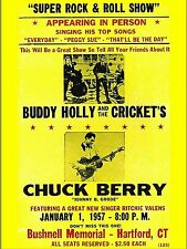 """Buddy Holly / Chuck Berry Hartford 16"""" x 12"""" Photo Repro Concert Poster"""