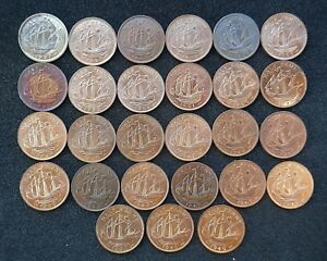 Half-Pennies-1937-to-1952-all-BU-Unc-or-Proof-choose-your-date