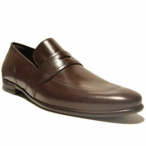9aacad12af5 Image is loading Hugo-Boss-Brown-Leather-Fashion-Penny-Loafers-Dress-