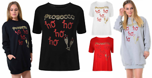 Women Prosecco Ho Ho Ho Christmas Festive Xmas T shirt Sweatshirt Ladies Top all