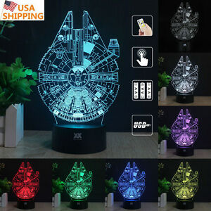 Star Wars Millennium Falcon 3D LED Night Light 7Color Table Desk Art Lamp Gift