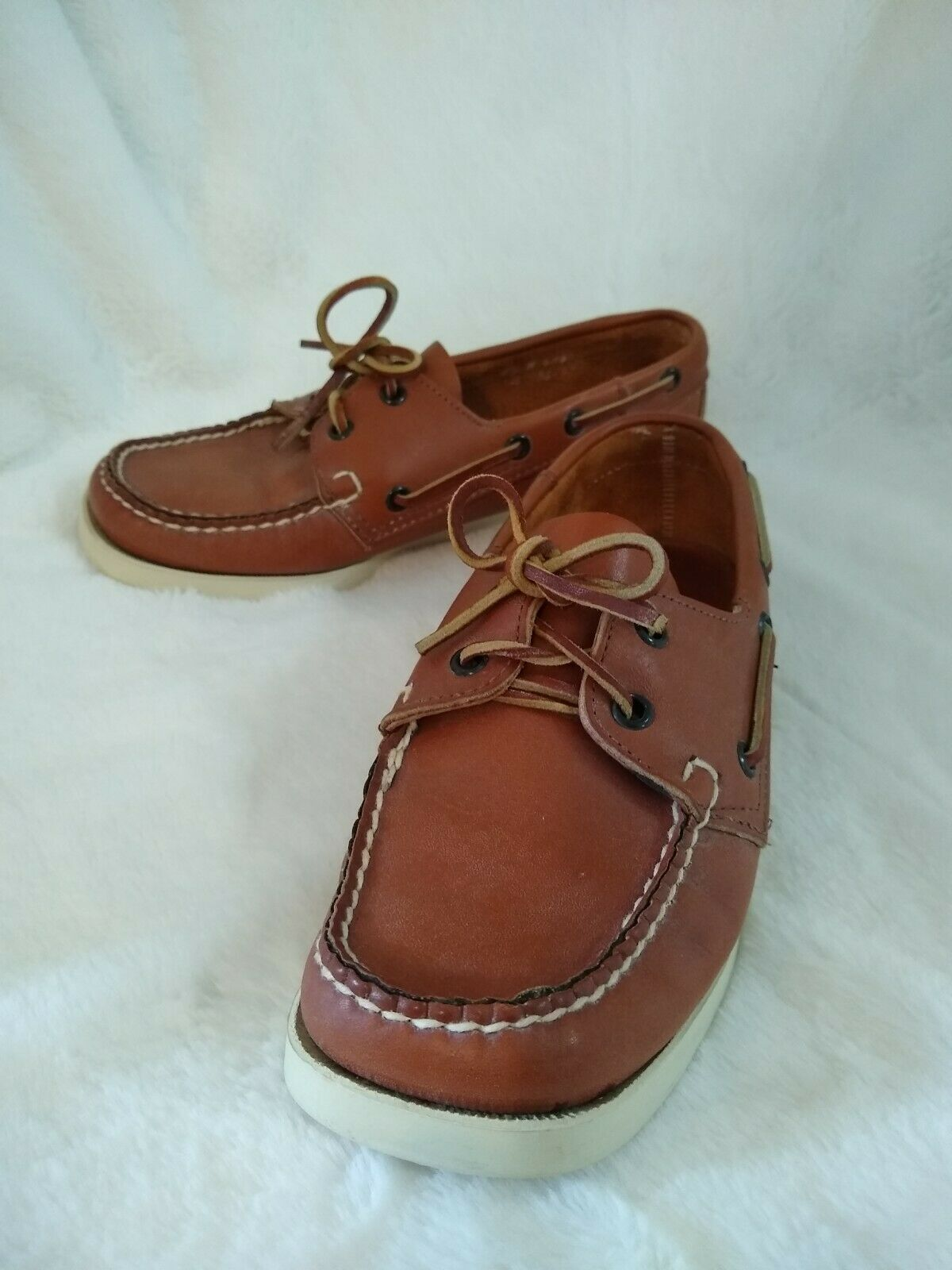 Men's Sebago Docksides Leather Lace up Boat Shoes Deck shoes Size 7.5M USA Made
