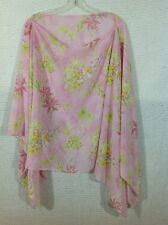 Women's Spiegel Poncho Sheer Tropical Print Pink Ballet Neck One Size Orchid