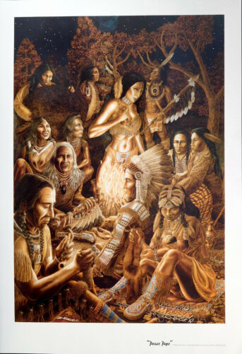 PEACE PIPE CHEROKEE INDIANS 81X56CM NEW LICENSED ART TOM MASSE POSTER