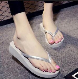5a7b83369c9a New Women Shoes Beach Slipper Flip Flops Sandals Sweet Wedge Heel ...