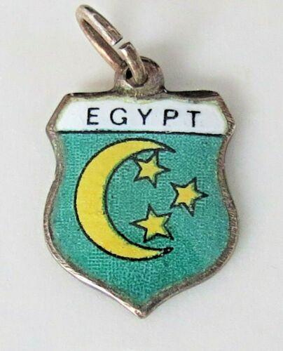 EGYPT ~ Vintage Sterling Silver Enamel Travel Shie