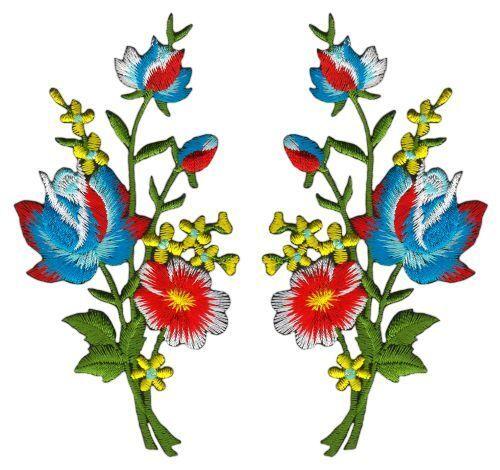 Ac96 flores set 2 piezas Patch perchas imagen Patch aplicación ramo de 5,5 x 11 cm