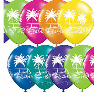 10-Flower-amp-Palm-Tree-Helium-or-Air-Balloons-Tropical-Hawaiian-Party-Decorations