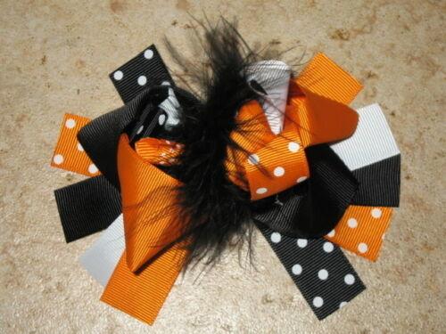 "NEW /""ORANGE /& BLACK DOT/"" Fur Hairbow Alligator Clips Girls Ribbon Bows 5 Inches"