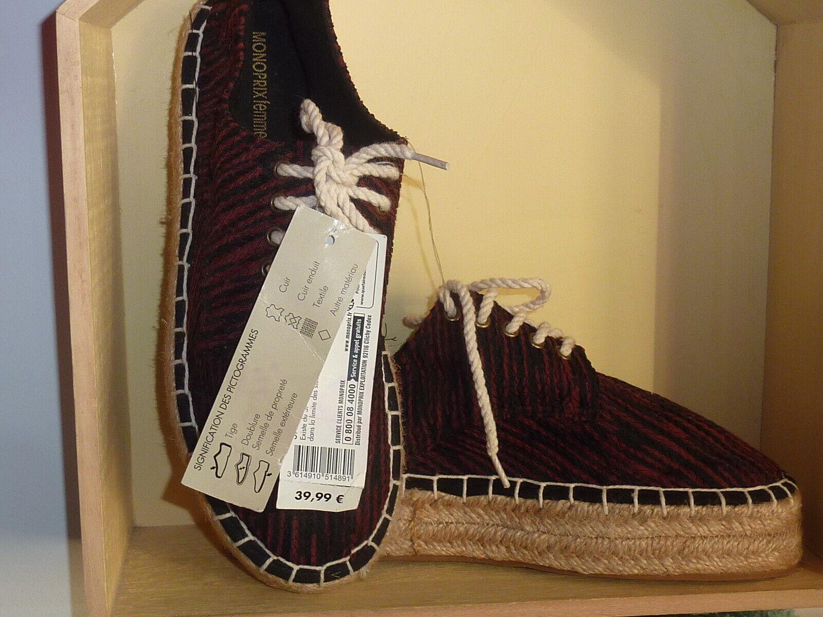 ♥ -70% ♥ Chaussures espadrilles MONOPRIX femme pointure 39 neuf valeur 40