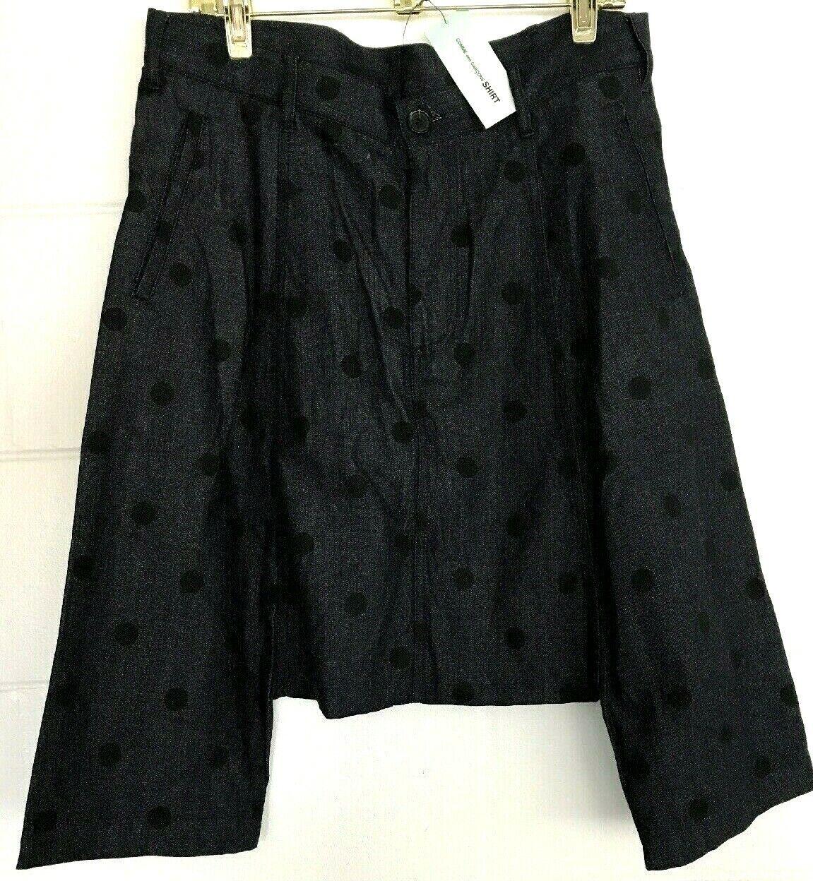 New COMME DES GARCONS shirt SHORTS Lagenlook Size S Art-to-Wear NWT Denim DOTS